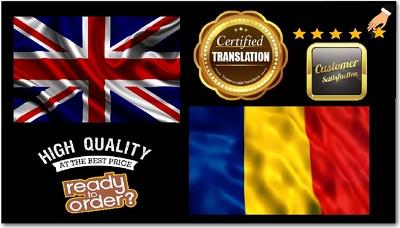 certified Translation English to Romanian (Native speaker)