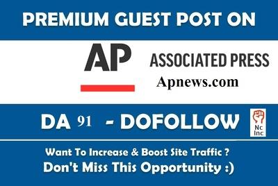 Guest Post on AP, Associated Press, apnews com, Dofollow, DA91