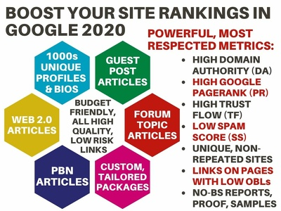 Boost Google Rankings w 1200+ Unique White Hat Profile Links DA+