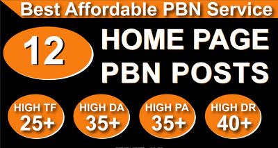 Provide Best Homepage 12 PBN High 20 Plus DA PA CF TF