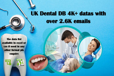 UK Dental DB 4K+ datas with over 2.6K emails