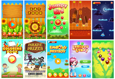 2d mobile game app asset design for android, ios and website