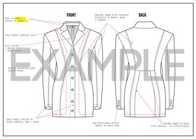 create a technical drawing & tech pack for 1 womenswear garment