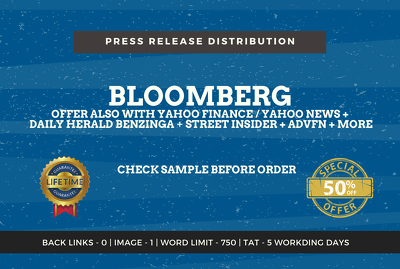 Write press release article, submit to Bloomberg, Yahoo