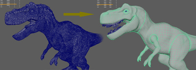 do retopology and UV mapping for biped or quadruped character