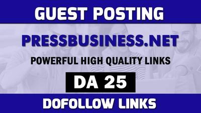 Guest post on Pressbusiness.net , dofollow backlinks post