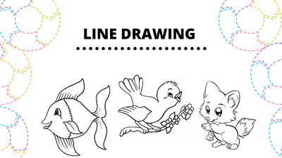 Draw simple black and white line art illustration for you