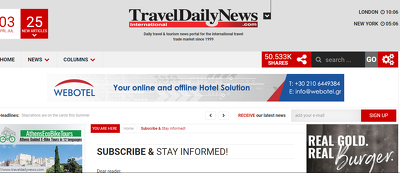 Publish your travel Content DA -65 site Traveldailynews.com