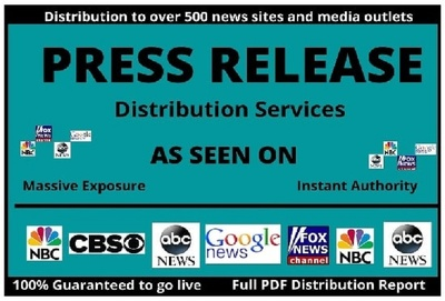 Premium 1000 word Press Release & PR Distribution to 500+ Sites