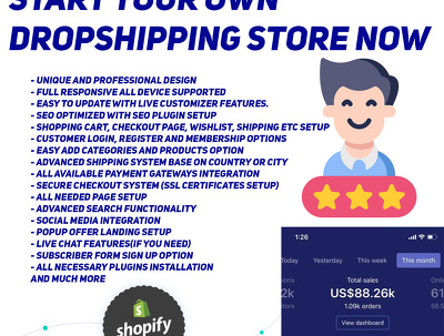 Create full shopify store or shopify website design