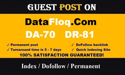 guest Post On Datafloq DA-70 DR-81 blog with High Traffic