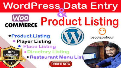 Woo Commerce Product Listing and WordPress Data Entry 5 hour