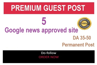 Write and publish 5 guest post on google news approved site DA35