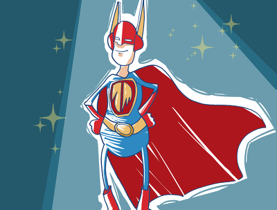Create a comic or cartoon character with digital colours