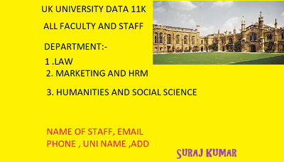 Deliver you 10000 Plus UNIVERSITY staff Detail of UNITED KINGDOM