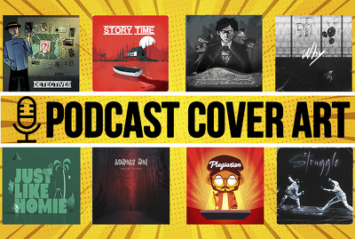 Design a professional podcast cover art and logo
