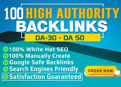 Build high quality SEO backlinks from da30 to da 100 sites