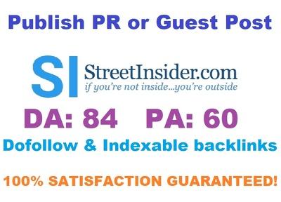Publish Press Release or Guest Post On Streetinsider.com DA 84