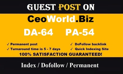publish guest post on CEOWorld – CEOWorld.biz– DA 64