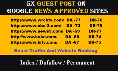 Publish Guest post on 5 News Sites, Google News approved Sites