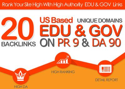 Manually do 20 PLUS US BASED EDU GOV LINKS ON DA90 PR9