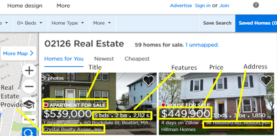 Pull  real estate data from zillow