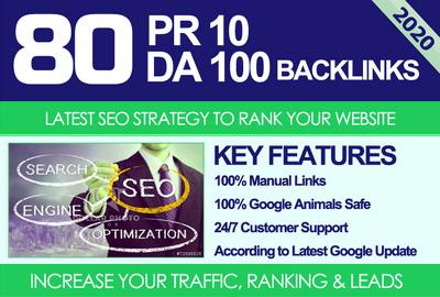 Do 80 UNIQUE PR10 SEO BackIinks on DA100