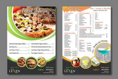 Design a creative Menu for your restaurants and Food points.
