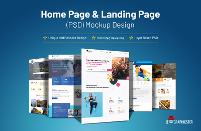 Create Home Page or Landing page PSD Mockup Design