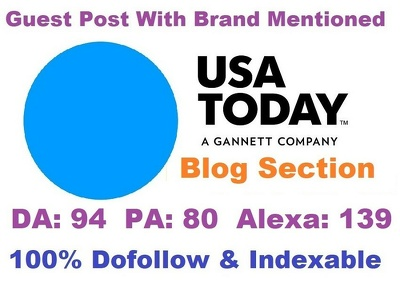 Guest Post With Brand Mention on USAToday Blog Section DA 94