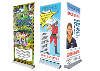 Design you a rollerbanner/pop up banner/hanging banner