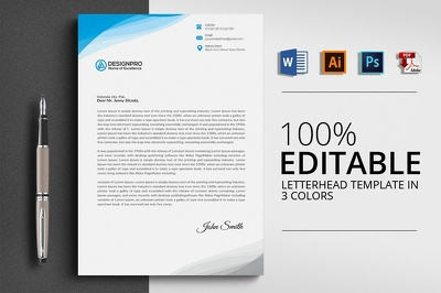 Design a professional letterhead + Free Ms word and Source file