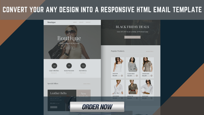 Convert your design into a HTML Email Template+Email Newsletter