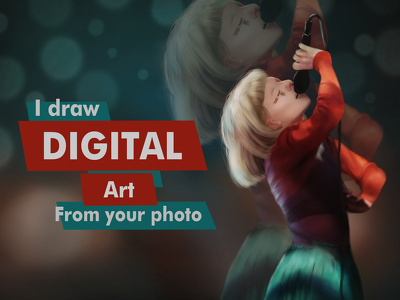Draw awesome digital painting portrait