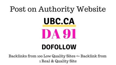 Publish Guest Post On Ubc.Ca, DA91, Dofollow Backlink