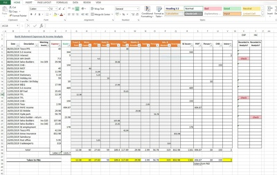 Record & analyse Bank Statement Transactions on Excel