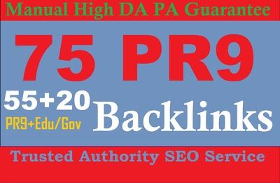 Do Exclusively 75 Backlinks 55 PR9 +20 EDU/GOV 80+DA Backlinks