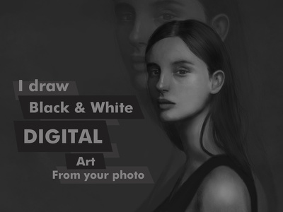 Draw awesome digital portrait / sketch black and white