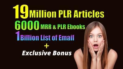 19 Million PLR articles, 6000 PLR EBook, 1 Billion Email list