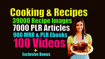 Give Cooking recipe images, plr ebooks, plr articles and videos