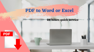 Convert PDF to word or excel in 24 hours