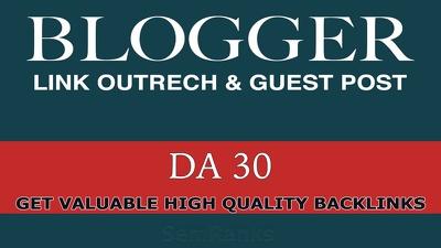 Guest Post Via Blogger Outreach on DA 40 Blogs