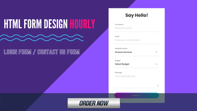 Design custom html Contact or Login form for your website