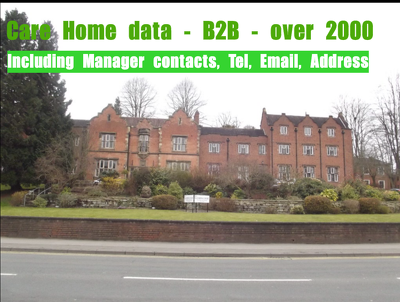 Provide Care Home Manager data, 1000 records up to date