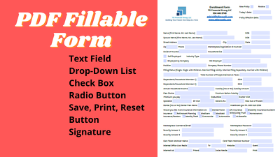 Create and design Fillable PDF Form