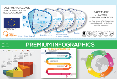 Design infographic flow charts and illustrations