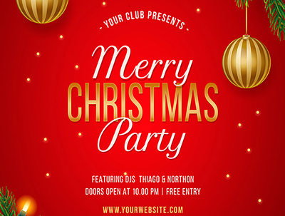 Design your Christmas party invitation,flyer,poster & banner