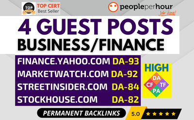 ⭐Write & Publish 4 GUEST POSTS - Yahoo Finance - Business niche⭐