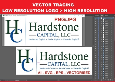 Convert low resolution jpeg png image to high resolution vector