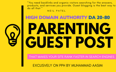 Write and publish guest post on high da parenting blog